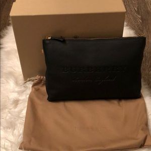 Burberry large embossed leather